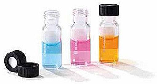 Viales de vidrio claro, de 2ml de capacidad, con tapas a rosca y septas de goma siliconada/teflon,  Caja x 100  unidades