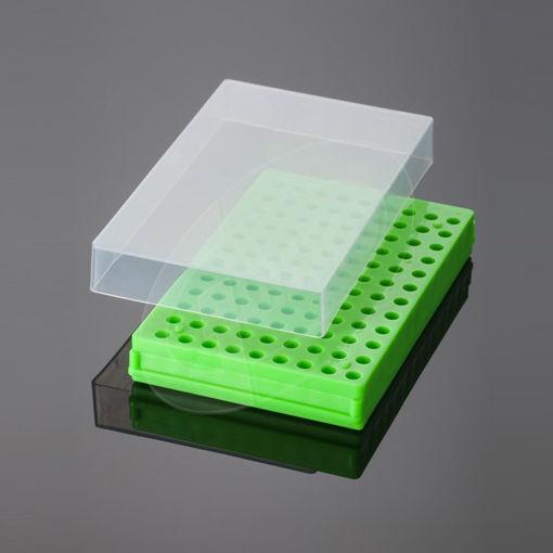 Caja para tubos de centrífuga de PP con tapa transparente