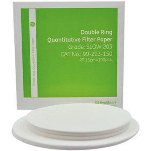 Papel de filtro cuantitativo ashless double rings Grado Fast 201 x 100u.