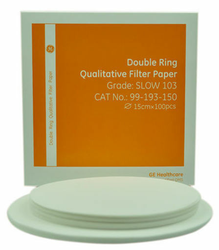 Papel de filtro cualitativo double rings Grado Medium 102 x 100u