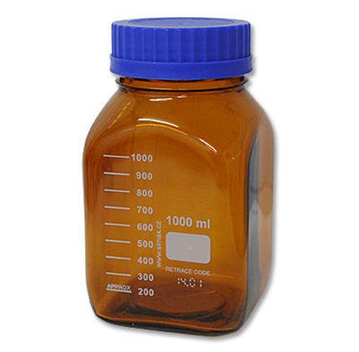 Frasco graduado color caramelo,forma cuadrada cuello ancho, GL 80,con tapa a rosca azul