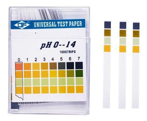 Tiras indicadoras de pH 0 - 14 x 100u.