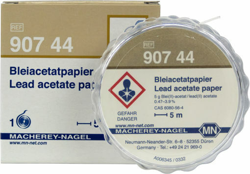 Papel de acetato de plomo cualitativo para sulfuro: 5 mg / L S²⁻ rollo x 5 mts.