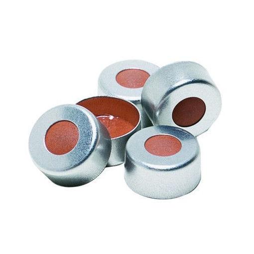 Tapones de encapsulado con septa de PTFE transparente/goma roja x 1000u.