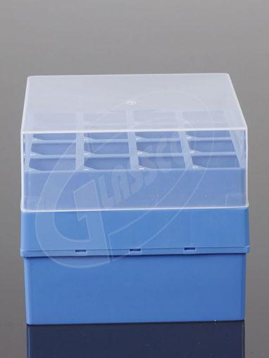 Caja para tubos de centrífuga PP con tapa transparente
